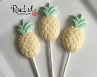 12 Chocolate Pineapple Lollipop Favors
