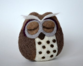 Small NEEDLE FELTED OWL / Brown and Gray Owl / Made in Maine by Caryn Burwood of Purple Moose Felting