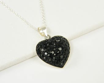 Black Rhinestone Heart Necklace, Sterling Silver Heart Pendant Necklace Jet Black Pave Rhinestone Charm Necklace  NT2-8