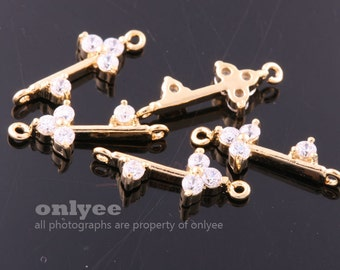 2pcs-15mmX6mm Glossy Gold plated Brass cubic zirconia in brass setting Key Connector for jewelry Charms pendant(K996G)