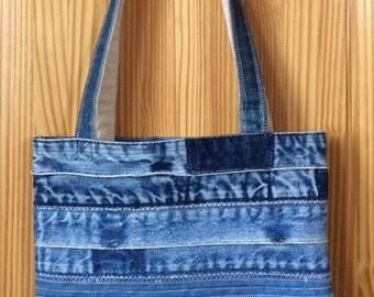 Denim Patchwork Tote Bag Patchwork Bag Shoulder Bag Quilted Tote Bag Patchwork Purse Shopping Bag Handmade Diaper Bag Quilted Purse Handbag