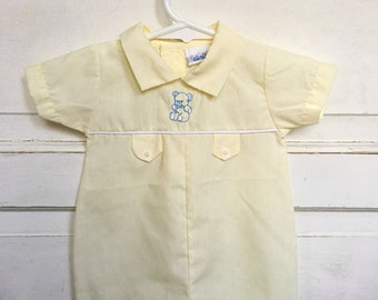 Vintage pale yellow baby boy romper/ jon jon- with bear embroidery- spring outfit/ summer/ easter baby vintage size 3/6M
