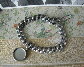 Vintage Solid Sterling Silver Double Link Charm Bracelet Silver Charm Bracelet Silverton Oregon Estate 22.3 grams