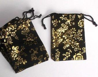 Velvet Pouch - Jewelry Pouch, Velvet Bags, Velvet Pouches, Drawstring Pouch, Jewelry Pouches, Wedding Gift Bag - Set of 10 Gold & Black Bags