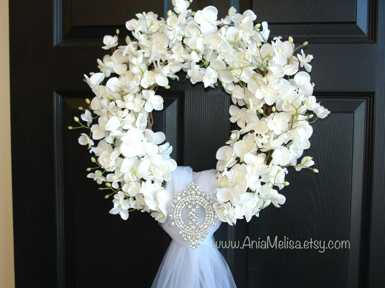 Wedding Wreath Summer Wreath Front Door Wreaths Outdoors White