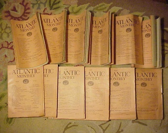 Full Year 1912 The Atlantic Monthly Magazines January - December published By Atlantic Monthly Boston, Antique Magazines with lots of Ads