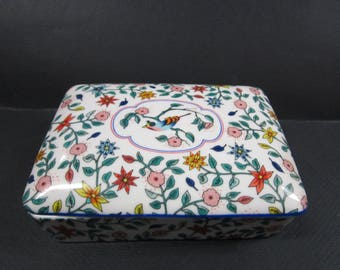 Neiman Marcus Porcelain  decorative playing cards box with floral & bird designs
