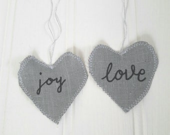 Love and joy hearts, gift tags, door hangers, fabric hearts, linen hearts, inspirational quotes, grey heart, love heart, valentines tag