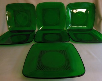 "Anchor Hocking Charm Forest green Square 8 1/4"" Luncheon Plates set of 7 offers considered"