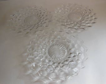 "3 Vintage Fostoria American 8"" salad plates clear cube bread and butter plates cubist plates offers considered"