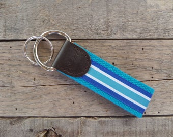 Blue Stripes Key Fob/ Preppy Key Chain/Party Theme Key Fob/Pink, Blue and White/Leather Key Chain/Key Ring
