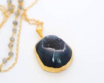 Blue Druzy Gold Pendant Necklace, Freeform Druzy, Labradorite Gold Chain, Long Necklace