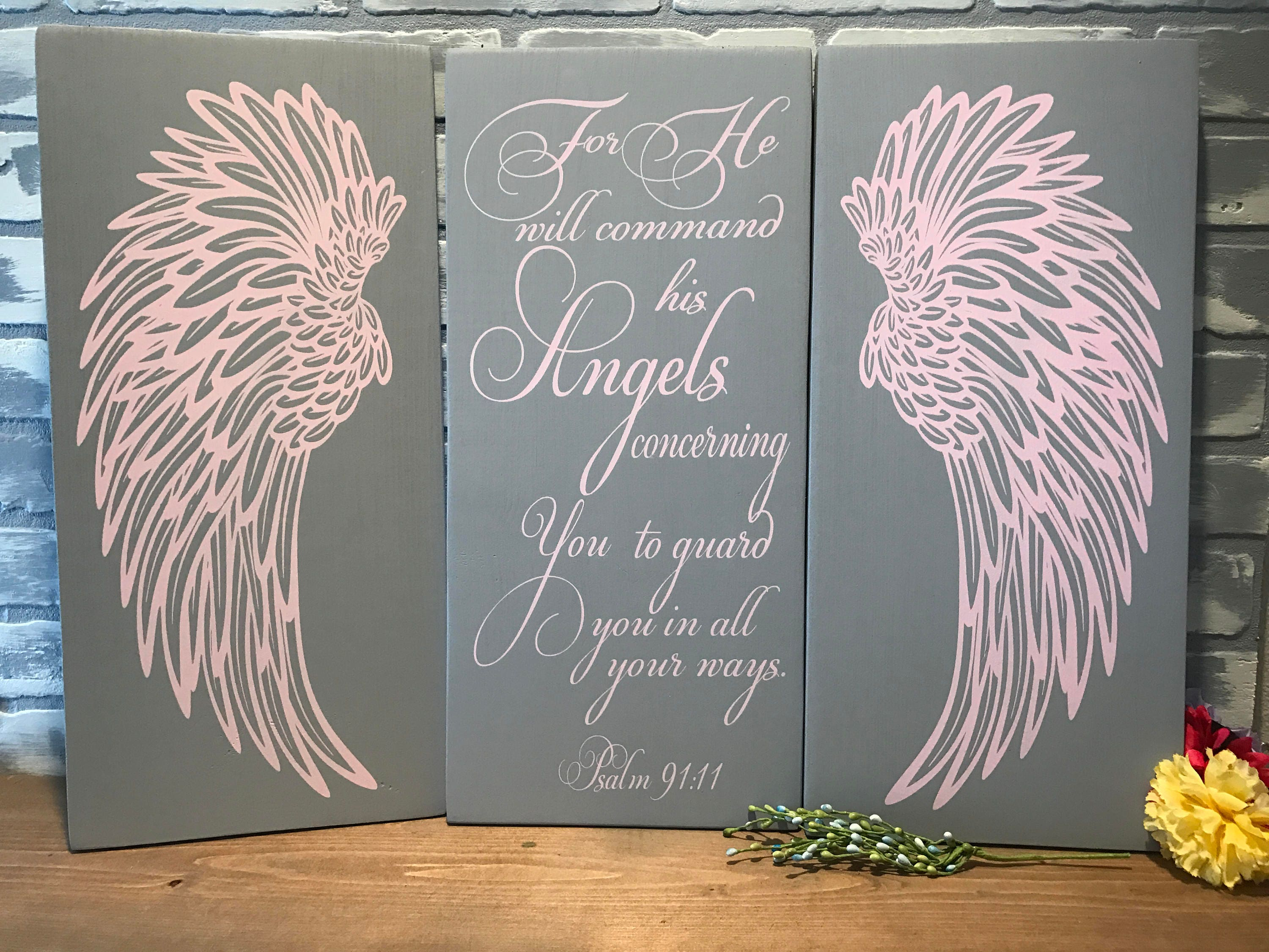 Angel Wings Wall Decor, Psalm 91:11 Angels Scripture Verse, Shabby Chic  Decor
