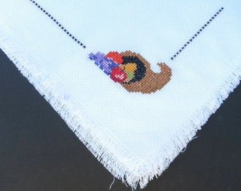 Bread Basket Liner/Holiday/Thanksgiving/Home and Living/Kitchen and Dining/Cross Stich Bread Liner/Doily/Table Linens/Hostess Gift