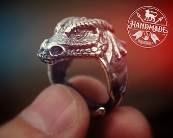 Dragon Head Ring - US Sizes 7/8/9/10/11/12 - 925 Sterling Silver -- Viking/Norse/Medieval/Fantasy/Game of Thrones/Skyrim/Hobbit/Smaug