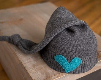 Upcycled Newborn Hat, Gray Hat with Blue Heart, Newborn Boy Hat, Newborn Photography Props, Newborn Photo Prop, Newborn Knot Hat, RTS Hats