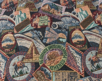 """Vintage Retro Tapestry Fabric, Upholstery Travel Patch Theme, Purse Tote Material 30"""" x 54"""""""