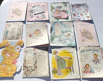 Vintage Lot of Vintage Baby Cards for scrap booking, crafts, USED Paper, Mixed Boy Girl, Welcome Baby Cute 50s 1950s, Lot of 12 Cards