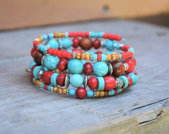Turquoise, Red Coral & Wood Bracelet Southwestern Rustic Feather Beaded Memory Wire Bohemian New Age Jewelry Gifts for Her Birthday BJGB80