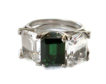 Vintage 14K White Gold Princess Cut Clear and Emerald Green Glass Ring Size 7