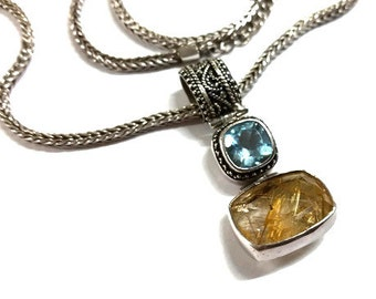 Lori Bonn Gemstone Pendant Necklace Blue Citrine Double Drop Sterling Silver