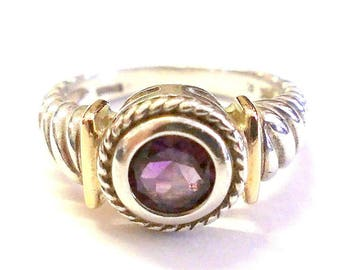 Vintage  Sterling Silver and 14K Gold Amethyst Ring Size 7