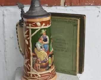 Vintage Large Glazed Stoneware Beer Stein #398 Germany