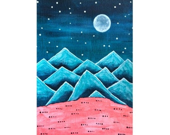 Funky Mountains No. 11 -  nursery wall art, teal mountain decor, surreal mountain painting, winter landscape