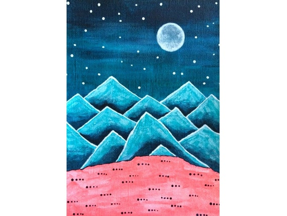 Funky Mountains No. 11 - original acrylic painting on paper, teal mountain decor, surreal mountain painting, winter landscape