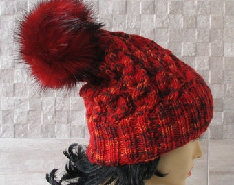 Knitted Slouchy  Hat Slouchy Beanie with Fur Pompom , Red Winter Hat, Warm and Soft Knitted Slouchy Hat for women