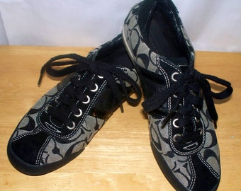 """Coach """"Meagan"""" Sneakers - Black Suede - Size 7 1/2 - Black White - Gently Worn"""