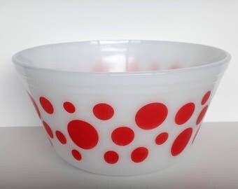 "Vintage Kitsch Federal Glass Red Polka Dot Milk Glass Mixing 8"" Bowl"