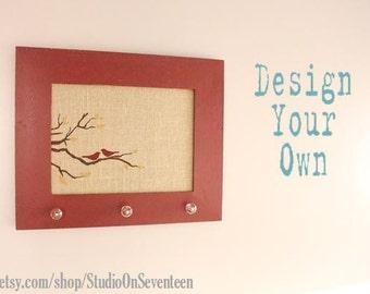 Medium Burlap Cork Board - Bird and Branch Design - Custom - Design Your Own Distressed Framed Message Board-Pin Board-Bulletin Board-18x22
