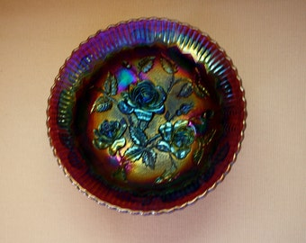 Imperial Carnival Glass / 7 1/2 Inch Footed Shallow Bowl / Large Rose Pattern