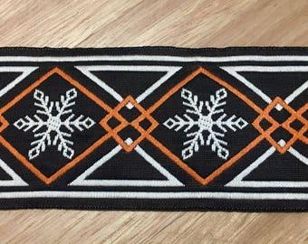 Retro vintage woven cotton trim braid - Geometric snowflake