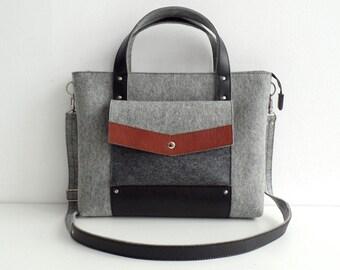 Gray Black Wool Felt Genuine Leather Handbag