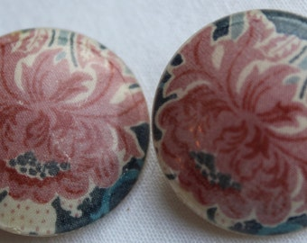 VINTAGE LIBERTY EARRINGS.Circular clip ons with Blue and Pink Floral Design Valentines Gift