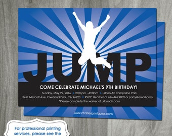 Trampoline Party Invitation, Printable Digital JPEG or PDF File, Bounce House Birthday, Boy Silhouette, DIY, Personalized, Print Service