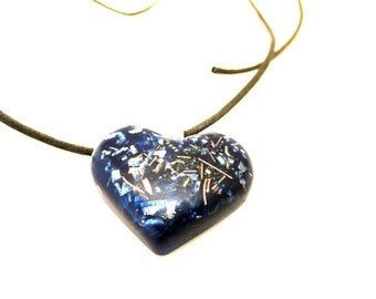Orgone Love Pendant Blue Hearth Necklace - Orgone Supernatural Resin Jewelry - Modern Spiritual Gift - Lucky Charm - FREE SHIPPING