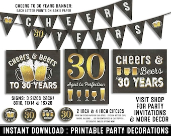 30th birthday party decorations - 30th birthday party for him - Cheers to 30 years - Cheers & Beers - Instant download party decor for her