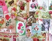 Valentine's Day Ephemera Pack*Pink Inspiration Kit*Vintage Rose Valentines Kit