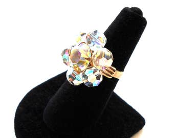 Vintage Big Cocktail Statement Ring  Aurora Borealis Rhinestones and Glass  1950's