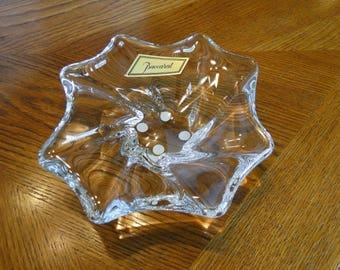 Brilliant Baccarat Crystal Cadix Ash Receiver, French Crystal Free Form Nut Dish, Decorative Shallow Candy Bowl