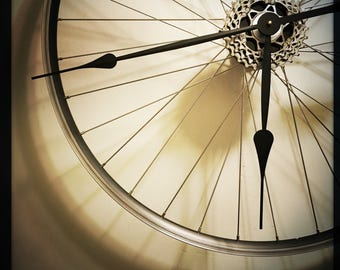 Bike Wheel Clock, Large Wall Clock, Unique Clock, Steampunk Modern Industrial Bicycle Wheel Clock, Cycling Gift, Oversized Wall Clock