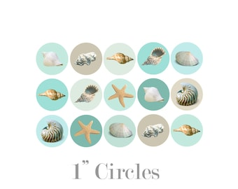 Digital Printable One Inch Circles with Coastal Seaside Ocean Seashells CBC001