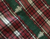 Woven Christmas Plaid Tablecloth with Trees