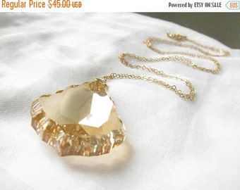 SALE - Champagne necklace - Long Gold Champagne necklace - Topaz necklace - Teardrop pendant necklace - Champagne necklace gold