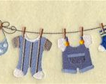 Baby Boy Clothesline Embroidered Towel | Flour Sack Towel | Linen Towel | Dish Towel | Kitchen Towel | Hand Towel | Nursery Gift
