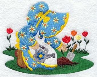 Sunbonnet Sue Gardening Embroidered Towel | Flour Sack Towel | Linen Towel | Dish Towel | Kitchen Towel | Hand Towel | Gift for Gardener