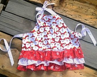 Santa apron/snowflakes/girl/pockets/ruffles/toddler/handmade/flannel